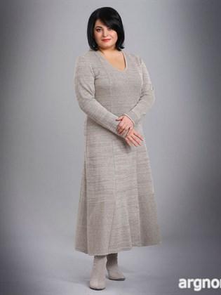 Платье льняное с длинными рукавами