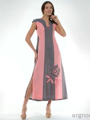 Льняное платье с цветком