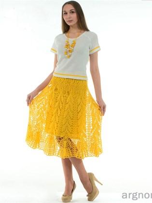 Желтая юбка изо льна
