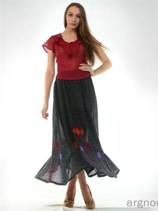 Длинная юбка с вязаными цветами