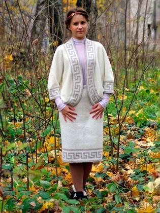 Льняная юбка с полушерстью