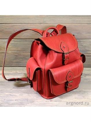 Красный рюкзак из жесткой кожи (малый)