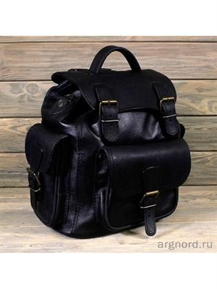 """Черный кожаный рюкзак """"Святослав"""""""