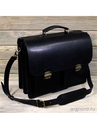 """Кожаный портфель """"Добротный"""" с двумя карманами"""
