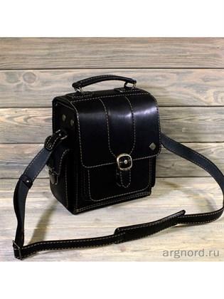Черный кожаный планшет-сумка