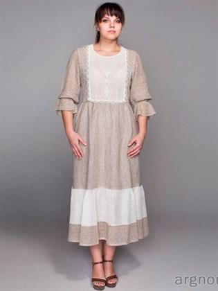 Льняное вязаное платье