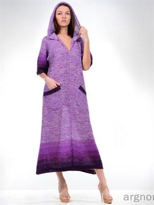 Вязаное платье с капюшоном и карманами