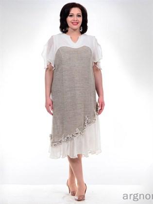 Платье из серого и белого льна