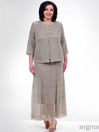Ажурная вязаная юбка с кружевом (с подъюбником)