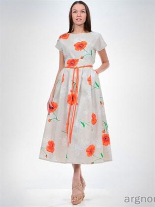 Платье льняное с маками