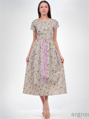 Платье изо льна с розами