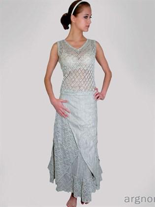Льняная двойная юбка с ажурной отделкой