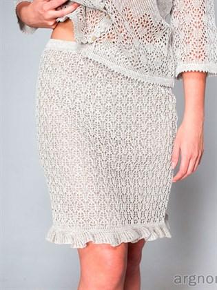Ажурная юбка-мини  с рюшами