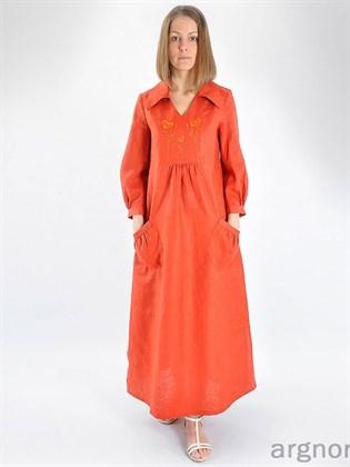 Платье длинное с отложным воротником