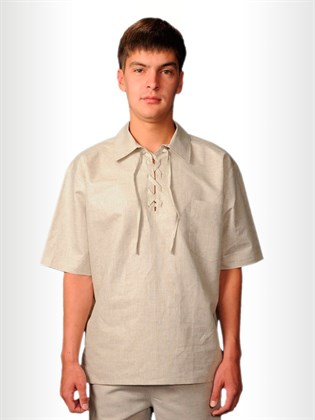 Рубашка мужская изо льна с завязками
