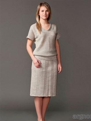 Прямая льняная юбка