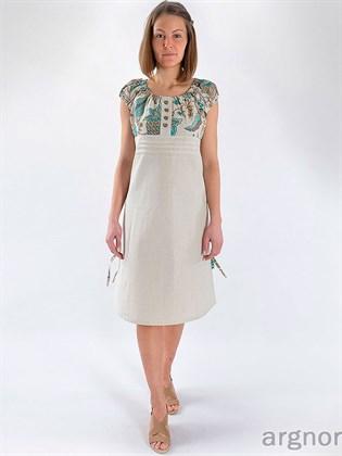 Платье изо льна с завышенной талией