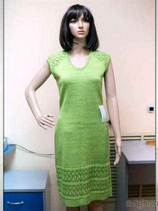 Платье из льна цвета тропик