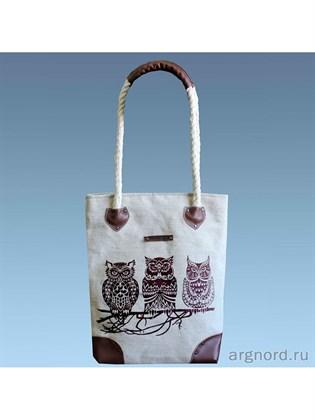 Льняная сумка с совами