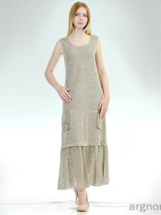 Льняное платье-сарафан с карманами