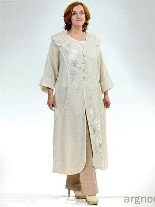 Длинное вязаное пальто из льна