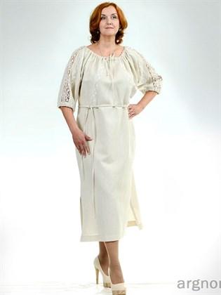 Платье из льняной ткани с кружевом