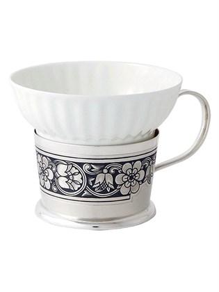 Чашка серебряная с фарфоровой вставкой