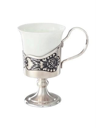 Чашка кофейная из фарфора и серебра