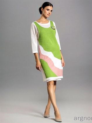Льняное платье с имитацией сарафана