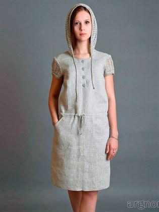 Льняное платье с капюшоном и коротким рукавом