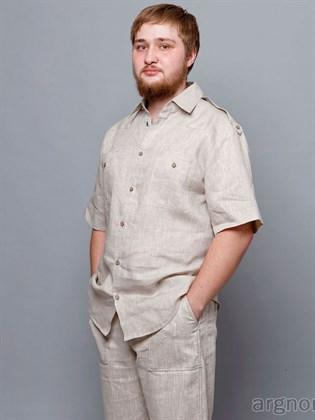 Мужская рубашка с коротким рукавом (лен)