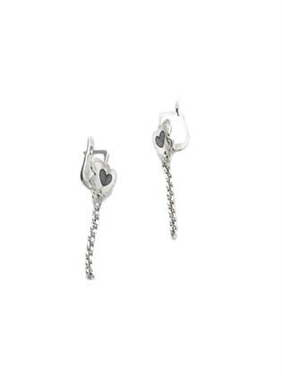 Серебряные серьги с цепочкой