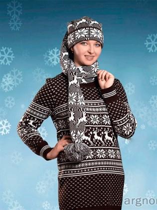 Вязаная шапка-шарф с оленями