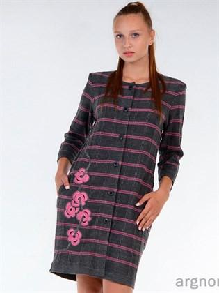 Жакет вязаный (маренго с розовым)