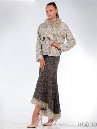 Льняная юбка с кружевом - миди