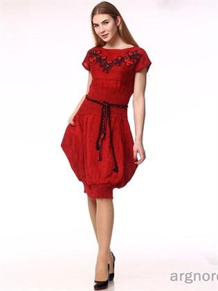 Платье вязаное из льна (красное) без пояса