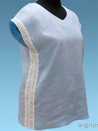 Блуза льняная с кружевом