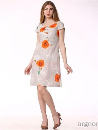 Льняное платье с маками