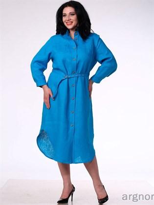 Платье льняное - бирюза