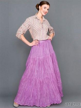 Длинная юбка из жатого льна