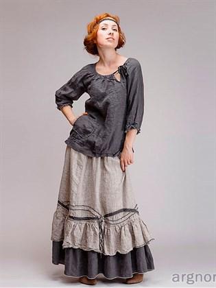 Длинная льняная юбка (стиль бохо)