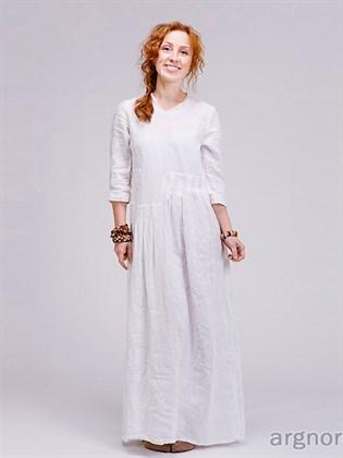 Длинное льняное платье в стиле бохо