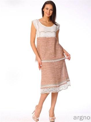 Трикотажная юбка с кружевом