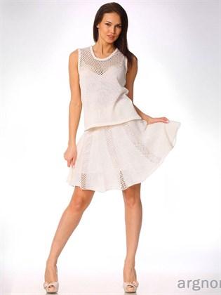 Льняная юбка с ажурными полосками