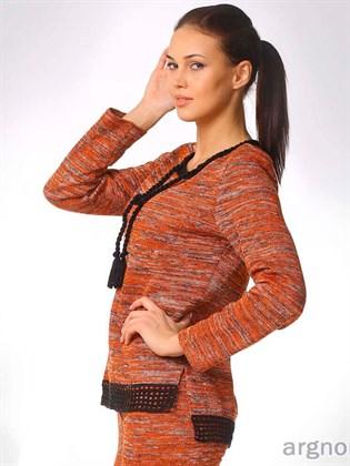 Модный льняной джемпер с удлиненной спинкой