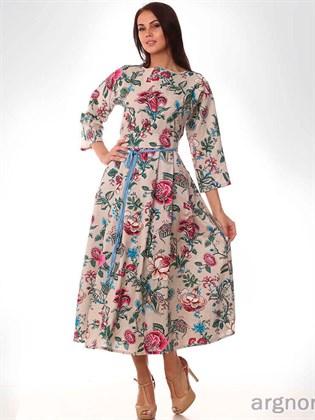 Платье льняное с цветами