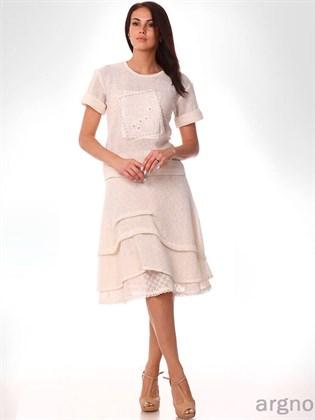 Льняная юбка из отбеленного льна (трикотаж)