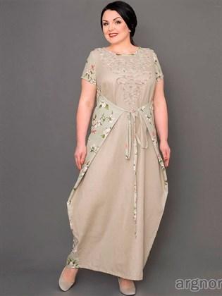 Льняное платье с коротким рукавом