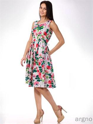 Летнее платье из льна со складками