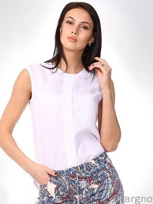 Льняная блуза без рукавов